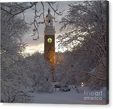 Evening Snow Covered Isaac Sprague Memorial Clock Tower In Elm Park  Canvas Print by Gina Sullivan