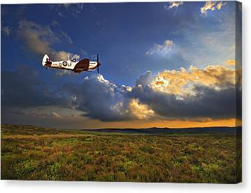 Air Force Canvas Print featuring the photograph Evening Spitfire by Meirion Matthias