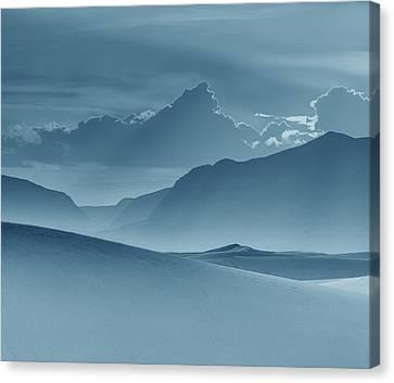 Evening Stillness - White Sands - Duvet In Blue Canvas Print by Nikolyn McDonald