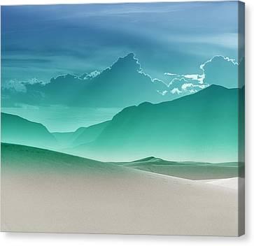 Evening Stillness - White Sands - Duvet In Sea Gradient Canvas Print by Nikolyn McDonald