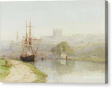 Exeter Canal Below Exeter Cathedral Canvas Print by Arthur Henry Enock