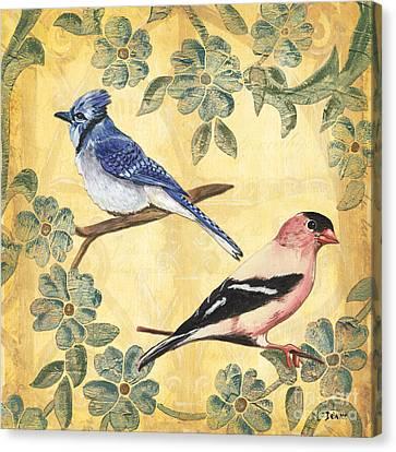 Exotic Bird Floral And Vine 1 Canvas Print by Debbie DeWitt