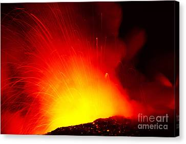 Exploding Lava At Night Canvas Print by Peter French - Printscapes