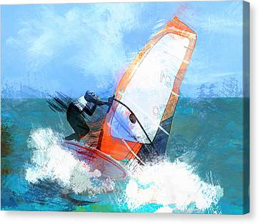 Expressionist Orange Sail Windsurfer  Canvas Print by Elaine Plesser