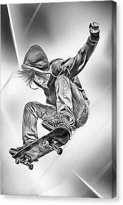 Extreme Skateboard Jump Canvas Print by Julie L Hoddinott