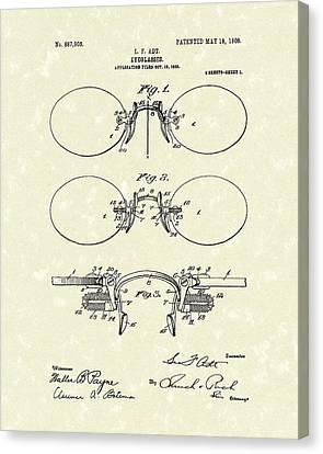 Eyeglasses 1908 Patent Art Canvas Print by Prior Art Design