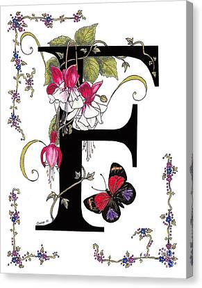 F Is For Fuschias And A Figure Eight Butterfly Canvas Print by Stanza Widen