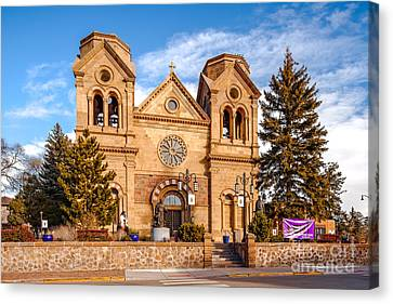 Facade Of Cathedral Basilica Of Saint Francis Of Assisi - Santa Fe New Mexico Canvas Print by Silvio Ligutti