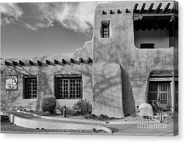 Facade Of New Mexico Museum Of Art In Black And White - Santa Fe New Mexico Canvas Print by Silvio Ligutti