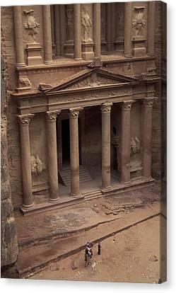 Facade Of The Treasury In Petra, Jordan Canvas Print by Richard Nowitz