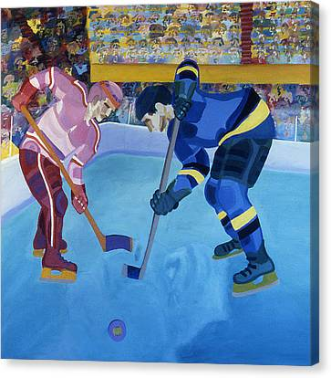 Face-off In The Corner Canvas Print by Ken Yackel
