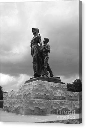 Facing The Storm Pioneer Woman Statue Oklahoma Icon   Canvas Print by Ann Powell