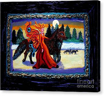 Faerie And Wolf Canvas Print by Genevieve Esson