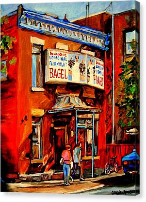 Fairmount Bagel Montreal Canvas Print by Carole Spandau