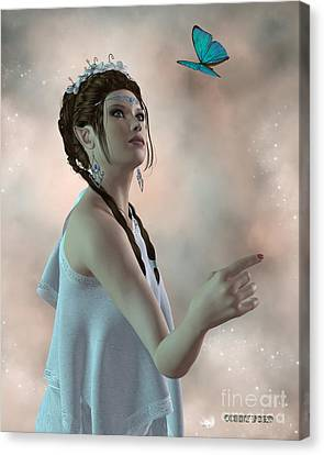 Fairy And Butterfly Canvas Print by Corey Ford