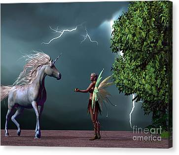 Fairy And Unicorn Canvas Print by Corey Ford