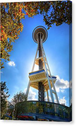 Fall Day At The Space Needle Canvas Print by David Patterson