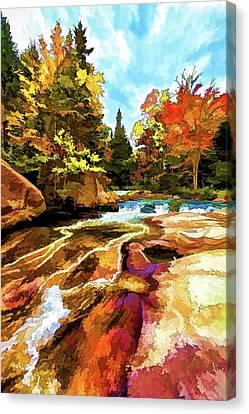 Fall Foliage At Ledge Falls 1 Canvas Print by Bill Caldwell -        ABeautifulSky Photography