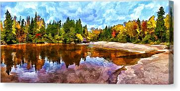 Fall Foliage At Ledge Falls 3 Canvas Print by Bill Caldwell -        ABeautifulSky Photography