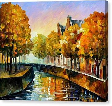 Fall In Amsterdam - Palette Knife Oil Painting On Canvas By Leonid Afremov Canvas Print by Leonid Afremov