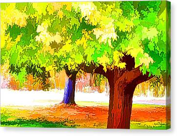 Fall Leaves Trees 1 Canvas Print by Lanjee Chee