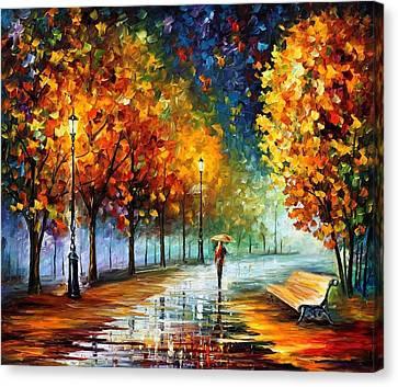 Fall Marathon Canvas Print by Leonid Afremov
