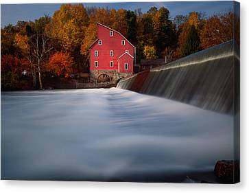 Fall Morning At The Historic Red Mill Canvas Print by George Oze
