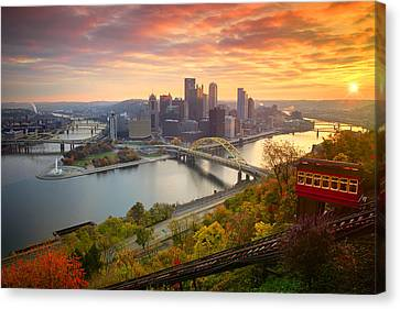 Fall Pittsburgh Skyline  Canvas Print by Emmanuel Panagiotakis