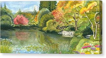 Fall Reflections Butchart Gardens Canvas Print by Vidyut Singhal