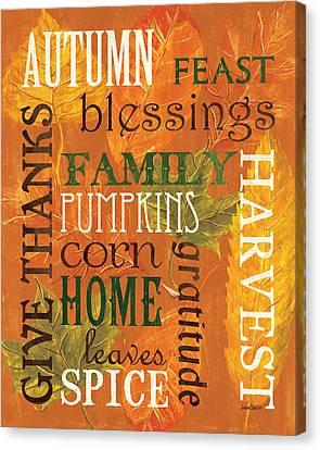 Fall Typography 1 Canvas Print by Debbie DeWitt