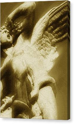 Fallen Angel Vertical Gold Canvas Print by Tony Rubino