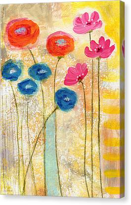 Falling For You- Floral Art By Linda Woods Canvas Print by Linda Woods
