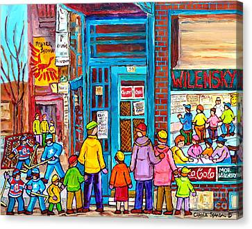Family Day At Wilensky Lunch Counter Montreal Street Hockey Winter Scene Carole Spandau Canvas Print by Carole Spandau