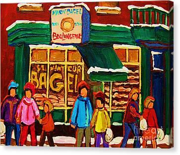 Family  Fun At St. Viateur Bagel Canvas Print by Carole Spandau