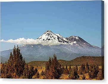 Family Portrait - Mount Shasta And Shastina Northern California Canvas Print by Christine Till
