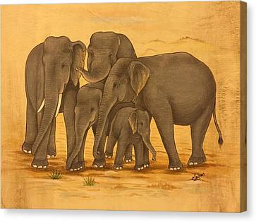 Family Reunion Of Elephants  Canvas Print by Madan
