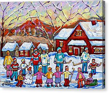 Family Skating Party Paintings Of Children Playing Canadian Country Winter Scene  Art Carole Spandau Canvas Print by Carole Spandau