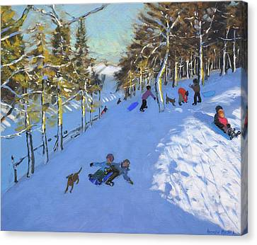 Family Sledging, Youlgreave, Derbyshire Canvas Print by Andrew Macara