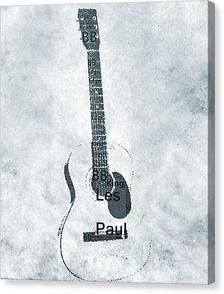 Famous Guitarists Typography Cool Canvas Print by Dan Sproul