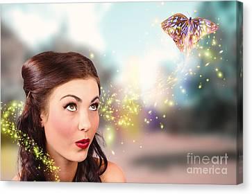 Fantasy Fine Art Beauty. Fairy Tale Butterflies Canvas Print by Jorgo Photography - Wall Art Gallery