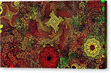 Fantasy Flowers Woodcut Canvas Print by David Lane