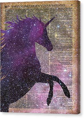 Fantasy Unicorn In The Space Canvas Print by Jacob Kuch
