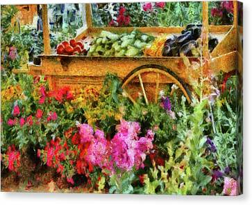 Farm - Food - At The Farmers Market Canvas Print by Mike Savad