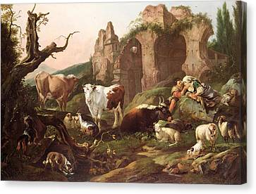 Farm Animals In A Landscape Canvas Print by Johann Heinrich Roos