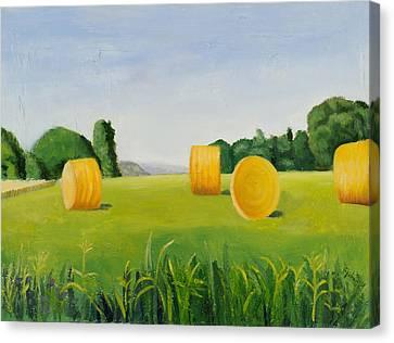Farm Bales Canvas Print by Gloria Cigolini-DePietro