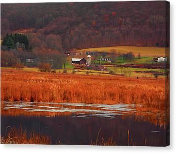Farm From Wallkill River National Wildlife Refuge Canvas Print by Raymond Salani III