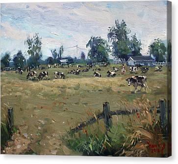 Farm In Terra Cotta On Canvas Print by Ylli Haruni