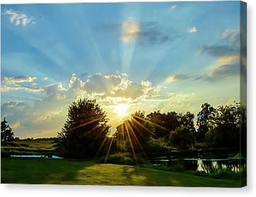 Farm Pond Sunset Canvas Print by Bill Caldwell