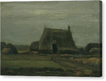 Farm With Stacks Of Peat Canvas Print by Vincent van Gogh