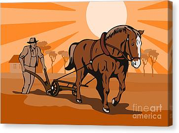 Farmer Plowing Field Canvas Print by Aloysius Patrimonio